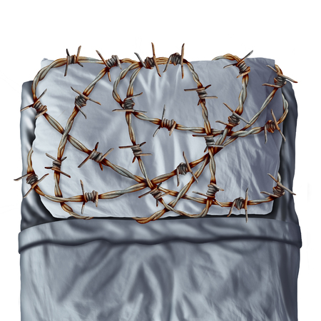 wetting: Sleep problem and sleeping disorder as sleep apnea or insomnia disease symptoms as a pillow on a bed wrapped with painful barb wire fence as a concept and metaphor for resting trouble caused by stress or anxiety.