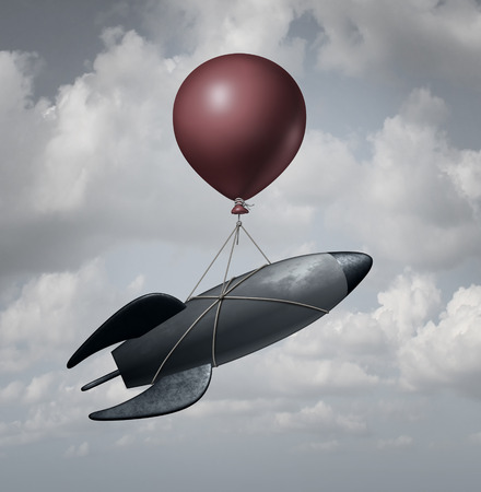 Old Technology business concept as an old rocket ship being lifted and transported by a single balloon as a solution metaphor for recovery with old tools after a technological failure.