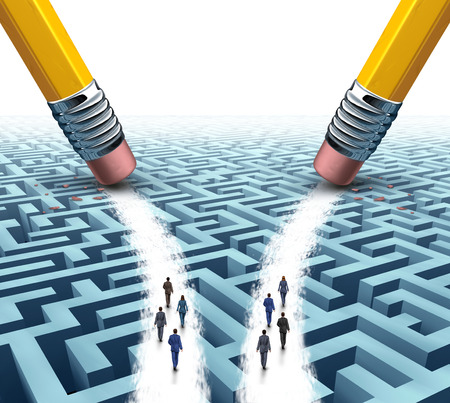 salespeople: Business team solution choice as two diverse groups of employees on a maze or labyrinth walking on open paths made by pencil erasers as a metaphor for employment options for recruiting companies.