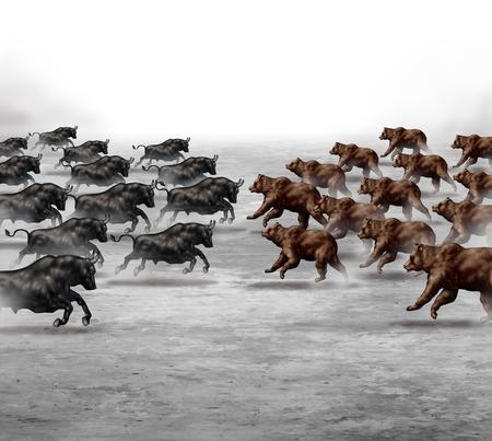 Mercado de valores concepto de negocio tendencia y predicción financiera símbolo de la incertidumbre como un oído hablar de toros y osos corriendo hacia la otra para establecer la dirección de un pronóstico económico.