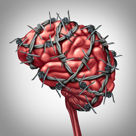 headache: Brain pain medical health care concept as a human thinking organ with barbwire or sharp barb wire fence wrapped around the anatomy as a symbol for a painful inflamation illness or migraine and headache suffering.