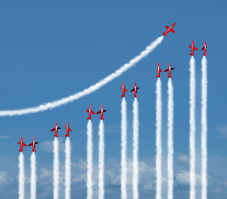 Business graph chart diagram concept as a group of acrobatic jet airplanes flying with smoke trails shaped as a financial infograph icon for rising wealth and success. Archivio Fotografico