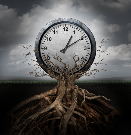 Time planning and efficiency management business concept as a clock breaking free from a tree trunk as a surreal symbol for productivity schedule and strategy. Banco de Imagens