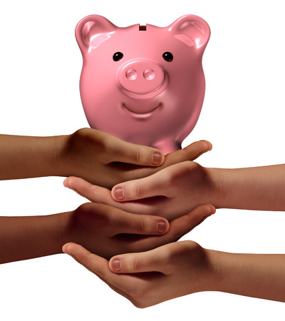 business savings: Community savings business concept and social banking symbol as a group of diverse hands holding up a piggy bank as a financial icon for society wealth management.