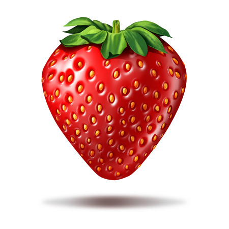 floating: Strawberry fruit illustration on a white background with a shadow as a delicious ripe fresh organic berry with vibrant red color as a symbol for fresh market food or sweete natural ingredient.