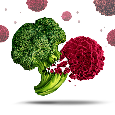 food fight: Superfood concept or super food symbol as a Broccoli character eating a cancer cell to prevent disease as a nutrient rich vegetable beneficial for human health and living a healthy lifestyle by eating nutritious medicinal meals. Stock Photo