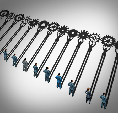 Businesspeople teamwork gears business concept as a diverse group of businessmen and businesswomen working together with cast shadows holding cogwheels connected in a corporate partnership for team success.