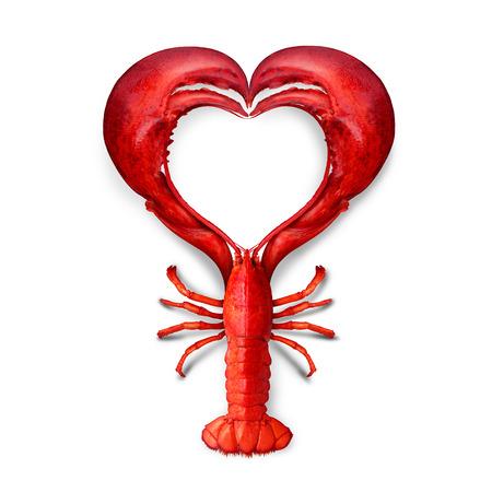 mariscos: Concepto de amor mariscos como en forma de un símbolo del corazón como una metáfora de fresca comida de mar del océano o la promoción de una cena de pescado o la comercialización de un menú de un restaurante de langosta hervida. Foto de archivo