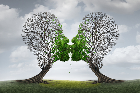 Love Therapy and relationship recovery counseling concept as two empty trees shaped as a human head attracted together as a devoted loving couple with kissing lips resulting in a return to a healthy passionate ralation. 스톡 콘텐츠