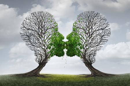 sexuales: El amor y el concepto de la terapia de recuperación de asesoramiento relación como dos árboles vacíos en forma de una cabeza humana atrajo juntos como una pareja de enamorados que se besan con los labios dedicada dando como resultado un retorno a un ralation apasionada saludable. Foto de archivo