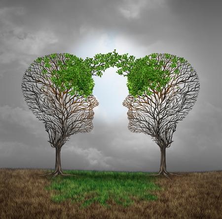 sinergia: El apoyo mutuo y el ahorro de unos a otros como un beneficio entre sí concepto de negocio como dos árboles enfermos con nuevo crecimiento hojas emergentes forma de una cabeza humana que proporciona un renacimiento para el éxito. Foto de archivo