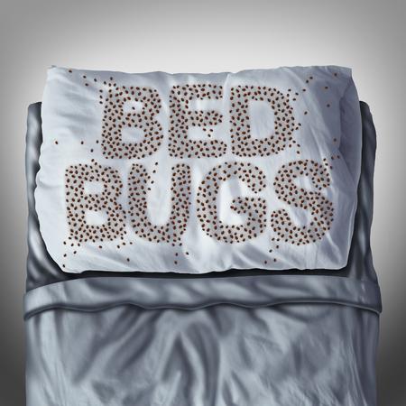 Bed bug op kussen en in bed als een wandluis besmetting begrip in de vorm van tekst letters als parasitaire insecten onder de lakens als een hygiënische gezondheidszorg symbool en metafoor van parasiet beet gevaar in een matras.