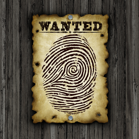 technology metaphor: Background search concept and identity searching or people screening or finding an employee as a recruitment and human resource symbol with a old paper sign with a finger print or fingerprint as a security technology metaphor.