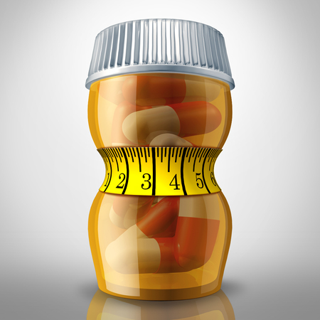 Diet pills and appetite suppressing medication as a prescription drug bottle squeezed by a tight fitness tape measure as a slimming metaphor for losing weight medicine. Reklamní fotografie