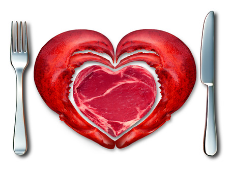menue: Surf and turf fine dining symbol and the love of meat and seafood as a steak and lobster in a place setting with a fork and knife shaped as a heart on a white background. Stock Photo