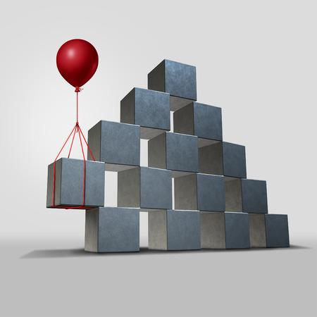 Soporte concepto de solución de negocios como una estructura de grupo de tres bloques tridimensionales en peligro de caer en una pieza clave el apoyo de un globo rojo como símbolo corporativo y financiero para la solución de un problema. Foto de archivo