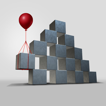 challenges: Support business solution concept as a group structure of three dimensional blocks in danger of falling with a key piece supported by a red balloon as a corporate and financial symbol for solving a problem.
