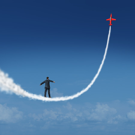 aspiring: Follow your dreams concept and motivational symbol as a businessman walking upward on a smoke trail created by a jet airplane as an icon for dreaming and aspiring for growth success.