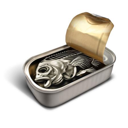 desilusion: Concepto promesa vacía como una lata de sardinas abierta con un esqueleto de pescado en el interior como una metáfora de negocios decepción y un símbolo para el fraude meanigless sin valor o desplumar al público.