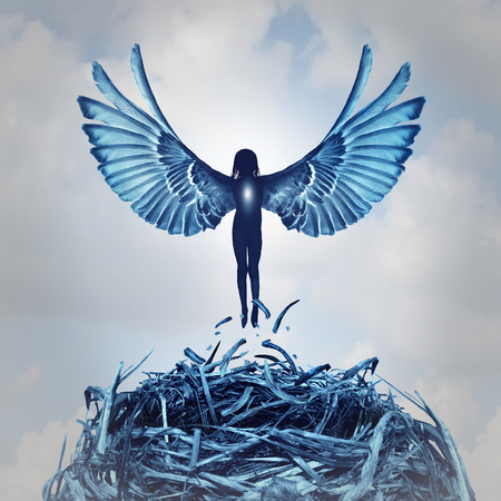 ascend: Angel concept and angelic metaphor as a human with open wings rising out of a nest into the clouds as a symbol of hope and the aspirations of life and to ascend to personal learning achievement.
