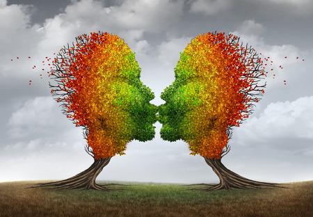 sex: Aging Paarbeziehung Symbol und Sexualtrieb Konzept oder ein vermindertes sexuelles Verlangen Metapher als zwei Bäume zu verlieren als zu küssen menschliche Köpfe förmige Blätter wie in der Herbstsaison zu verlieren.