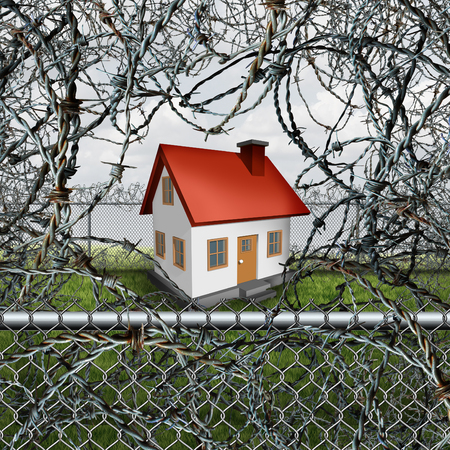 home keeping: Home protection concept and house security symbol as a family residence surrounded and protected by barbed wire fence shelter as a real estate defense icon for keeping danger out. Stock Photo