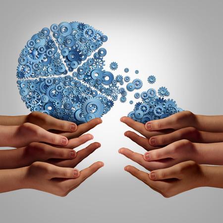 diversidad cultural: Startup company invertir los fondos y el concepto de desarrollo como un grupo de diversas manos humanas que dan o que toman la inversión de un gráfico de sectores de negocios de empresa hecha de engranajes y dientes como un símbolo de fondos corporativos o soporte philanthopy caridad.