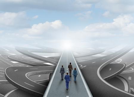 ouvrier: Groupe de gens d'affaires mondial de marcher dans une voie à suivre claire sur une route entourée de rues enchevêtrées comme un symbole d'une équipe ou d'une organisation surmonter le défi de confusion.