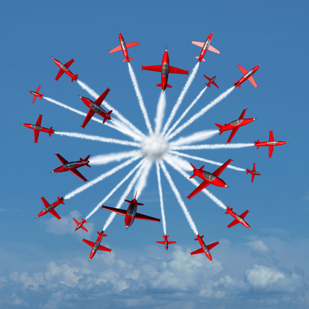 acrobatic: Global marketing concept as a coordinated group of acrobatic jet airplanes radiating out from a center point towards the world markets as a business symbol for spreading and communicating the message of a company or product brand.