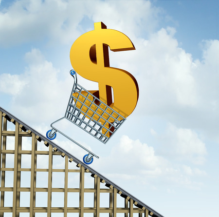 income market: Dollar currency decline financial concept as a three dimensional American money icon in a shopping cart going down a roller coaster as an economic symbol for a steep percentage fall in north America and Australia money. Stock Photo