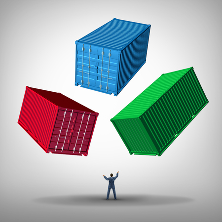 goods train: Freight cargo management concept as a businessman or shipping manager juggling heavy metal train containers as a business logistics managing icon. Stock Photo