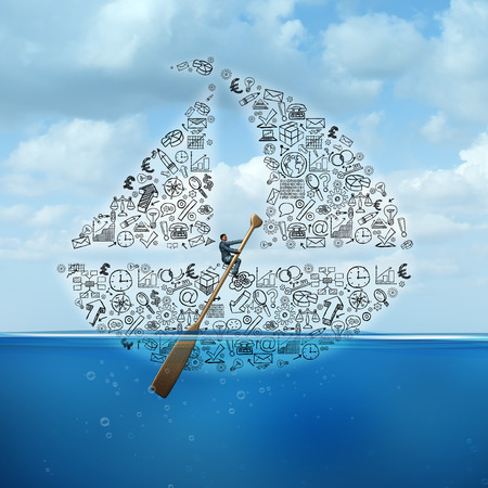 financial guidance: Business advice and strategic consultation as a businessman steering a sail boat made of financial company icons and corporate symbols as a guidance metaphor. Stock Photo