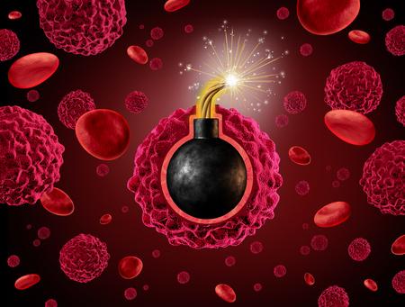 peligro: Tiempo del Cáncer concepto de aviso de bomba como una célula cancerosa peligroso dentro de un cuerpo humano con una lista explosivo explote como un símbolo para la difusión y el crecimiento de un tumor maligno. Foto de archivo