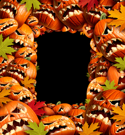 pumpkin border: Halloween vertical border frame with empty blank copy space as a group of carved jackolantern pumpkin group and fall leaves as a concept and design element for a creepy advertisement and marketing announcement for an autumn time party. Stock Photo