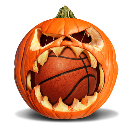 leather background: Basketball autumn concept as a pumpkin jack o lantern biting into a leather softball as a symbol for halloween sports and fall sporting events on a white background. Stock Photo