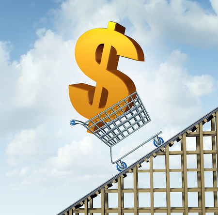 dollar sign icon: Dollar currency rise financial path concept as a three dimensional American money icon in a shopping cart going up a roller coaster as an economic symbol for a steep percentage gain in Canadian and Australian money.