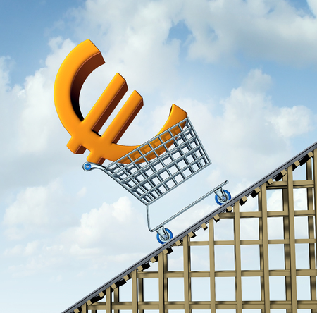 shopping icon: Euro currency rise financial concept as a three dimensional european money icon in a shopping cart going up a roller coaster as an economic symbol for a steep percentage gain in european money.