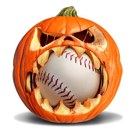 beisbol: Concepto de béisbol otoño como un gato de la calabaza o linterna que muerde en una de softbol de cuero como un símbolo para los deportes de halloween y caer eventos deportivos sobre un fondo blanco.