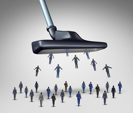 Employee management business concept as a giant vacuum cleaner sucking up businesspeople as businessmen and businesswomen as a corporate metaphor for human resource downsizing and recruitment,or getting clients and customers. Banque d'images