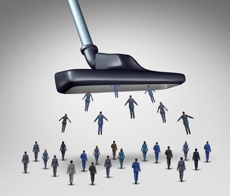 trabajo: Gesti�n de los empleados concepto de negocio como una aspiradora gigante absorbiendo empresarios como empresarios y empresarias como una met�fora corporativo de reducci�n de recursos humanos y selecci�n de personal, o conseguir clientes y los clientes.