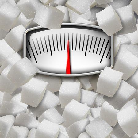 설탕 개념을 세련된 설탕 큐브로 만든 체중계로식이 요법에서 너무 많이 감미료를 섭취하는 건강 위험 문제에 대한 다이어트 피트니스 및 영양 기호로