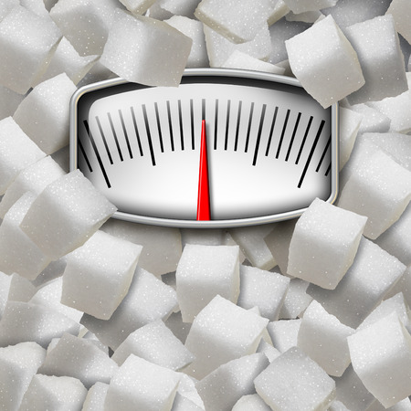 Eating sugar concept as a weight scale made from refined sugary cubes as a dieting fitness and nutrition symbol for the health risk issues of consuming too much sweetener in the human diet. Stock Photo