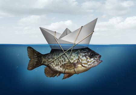 eficiencia: Recursos concepto de optimización como un símbolo de negocios para la utilización de los recursos para avanzar y actualizar una estrategia de éxito como un barco de papel en el agua atado a un pez como una solución de sistema de eficiencia.