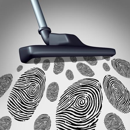 datos personales: Recopilación de la identidad del cliente y el concepto de minería de datos individual como un símbolo de la recopilación de información personal como chuparse el aspirador y la recuperación de un grupo de huellas dactilares o huellas dactilares como una metáfora de tecnología de seguridad.
