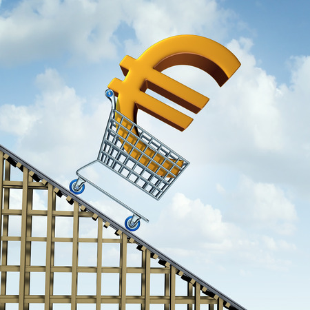 downgrade: Euro currency decline financial concept as a three dimensional european money icon in a shopping cart going down a roller coaster as an economic symbol for a steep percentage fall in european money.