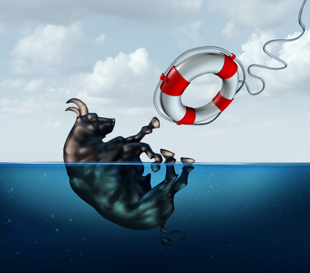 bull market: Saving the bull market business concept or financial investment safety metaphor as a bull drowning in water with a lifesaver coming to the assistance of the stressed financial icon as a stock market crisis icon. Stock Photo