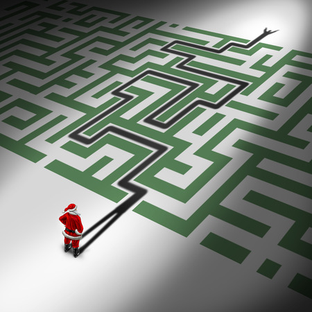 santaclause: Christmas success as a Santa Claus symbol for guidance and advice for holiday challenges as a seasonal concept with santaclause in front of a maze or labyrinth with his shadow finding a way through the winter gift giving season confusion. Stock Photo