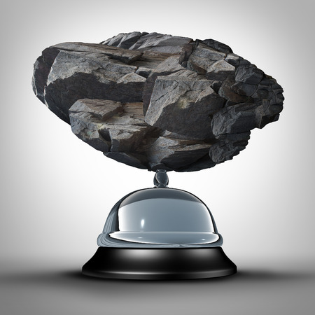 service bell: Service problem concept and overload or overloaded services demand symbol as a service bell being squeezed by the pressure of a heavy rock as a hospitality crisis icon. Stock Photo