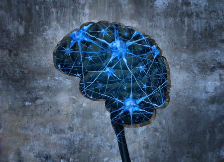 Dentro concepto de investigación neurología humana examinar la mente de un ser humano para curar la pérdida de memoria o de las células debido a la demencia y otras enfermedades neurológicas como una forma como un cerebro en una pared de cemento con las neuronas agujero.