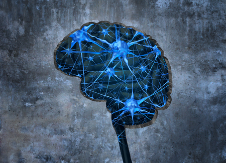 forschung: Innerhalb menschlichen Neurologie Forschungskonzept der Prüfung der Geist eines Menschen zu Gedächtnisverlust oder Zellen aufgrund von Demenz und anderen neurologischen Erkrankungen, wie ein Loch, wie ein Gehirn in einer Betonwand mit Neuronen förmigen heilen.